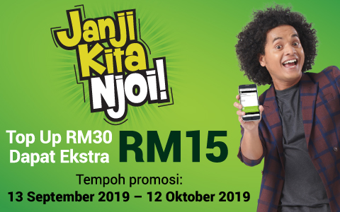 Top Up RM30 & Get Extra RM15 Credit