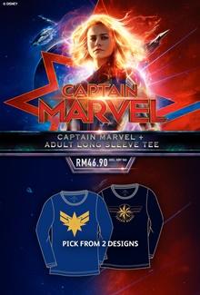 Captain Marvel + Adult Long Sleeve Tee